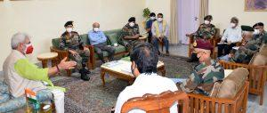 Lt Governor discusses Covid preparedness with senior Army officials ofNorthern & Western Commands