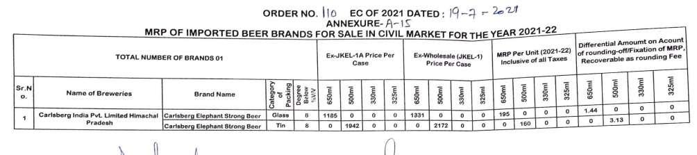 Price of carlsberg beer in Jammu and Kashmir