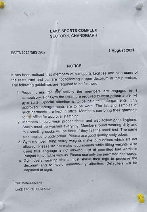 Chandigarh lake club notice going viral