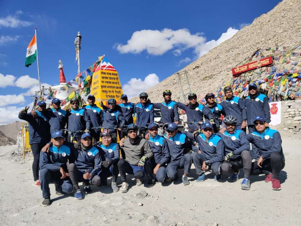 Members of cycle rally organized by ITBP from Ladakh to Gujarat. Pic: JK Newsline